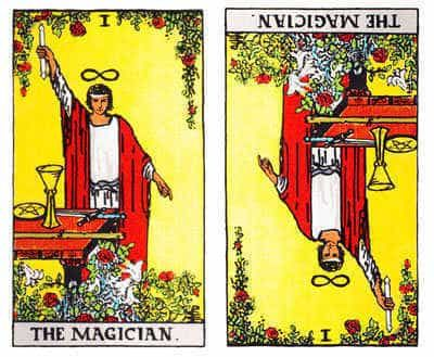 The Tarot card the Magician reversed.