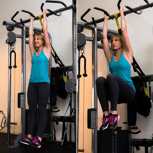 This exercise works all the abs but targets the lower abs and the deepest ab muscle, the transverse abs. The abdominal muscles are working more as stabilizers against your powerful hip flexors in this move.  Using a pull-up bar, get a good grip with your palms facing out or toward each other. Start with your legs hanging straight down, and on an exhale pull your abs toward your spine and bend your knees, lifting them toward your chest. Without swinging, slowly lower your knees, returning to…