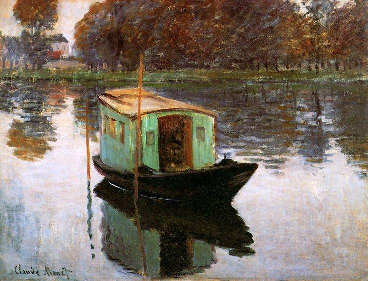 Claude Monet (French, Impressionism, 1840-1926): Monets studio-boat (Le bateau-atelier), 1874. Oil on canvas. Kröller-Müller Museum, Otterlo, Netherlands.