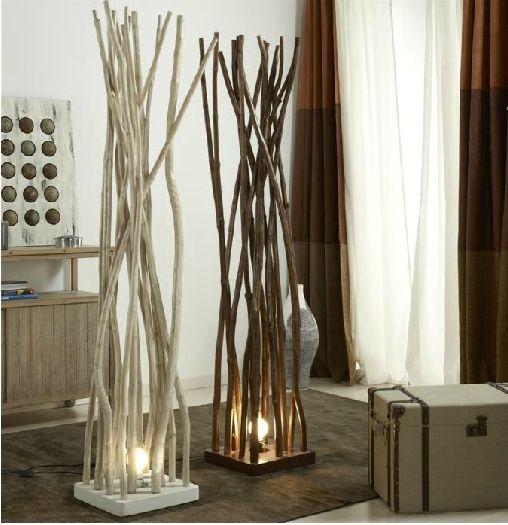 lamparas con troncos naturales