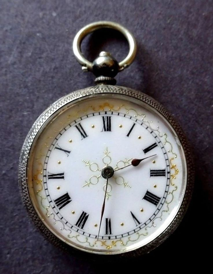 Ladies Antique Silver Key Wind Pocket Watch    #Unbranded