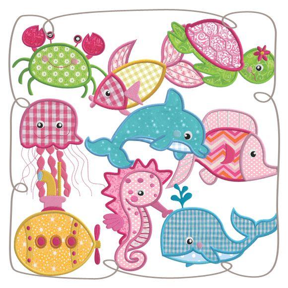 Under The Sea Applique Set Machine EMbroidery Design Patterns-INSTANT DOWNLOAD
