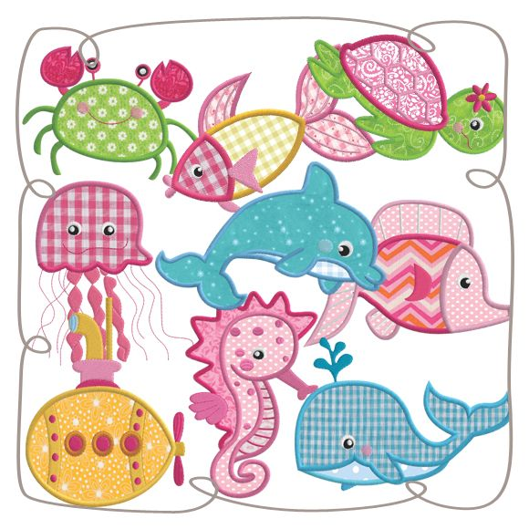 Under The Sea Applique Set Machine EMbroidery Design Patterns-INSTANT DOWNLOAD