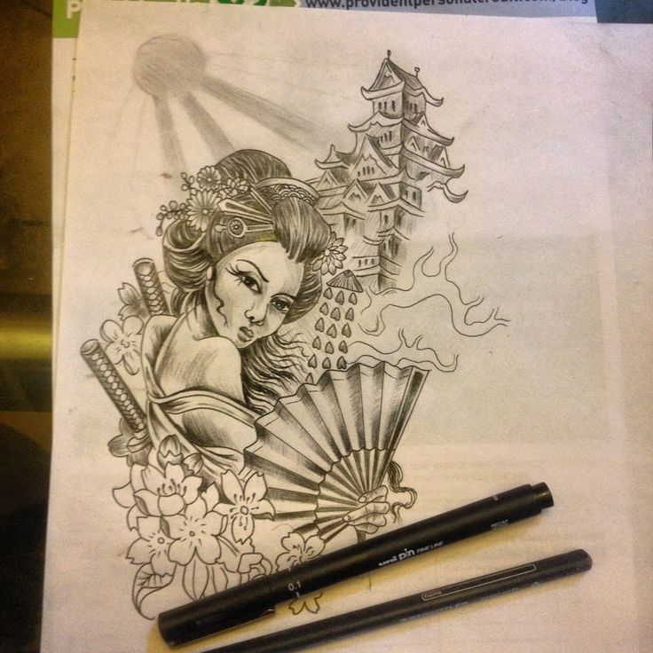 Sketch up for a japanese geisha half sleeve im about to ...