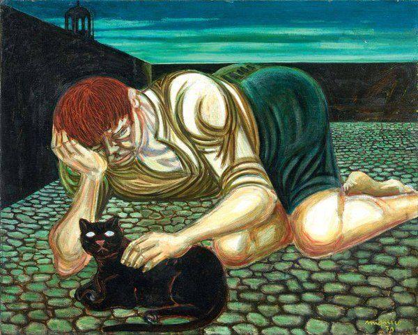 """Giuseppe Migneco, - """" Ragazzo con Gatto """", 1970"""