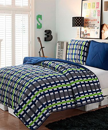 Look at this #zulilyfind! Navy & Green Juniper Comforter Set #zulilyfinds