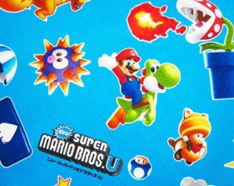 Couleur bleu clair SUPER Mario tissu