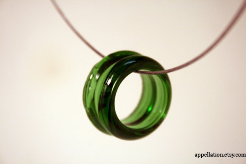 Green upcycled glass necklace by Appellation on Etsy, $20.00