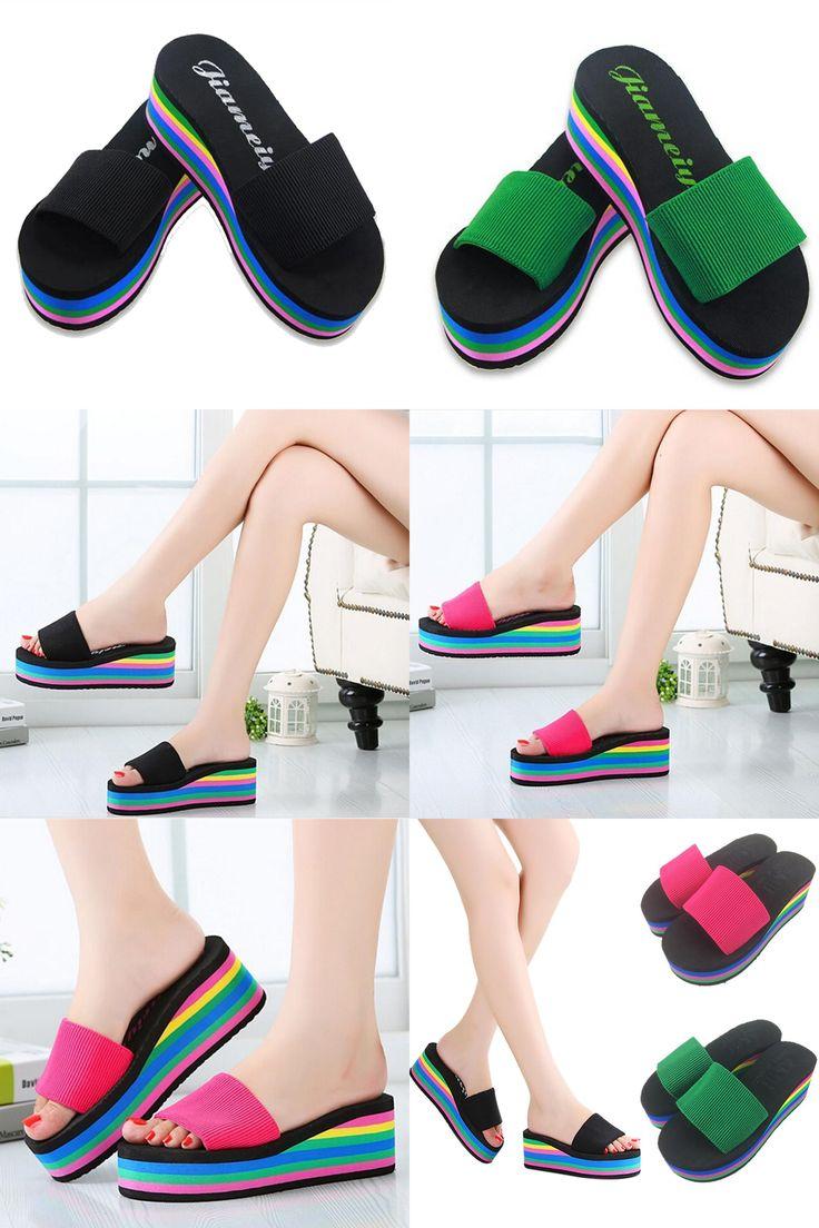 [Visit to Buy] Rainbow Summer Non-Slip Sandals Female Slippers For Women Flip-Flop Sandals Platform Indoor Flip Flops Slippers Sandals Hot Sale #Advertisement