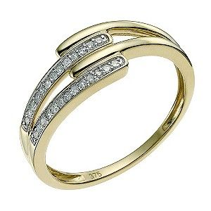 Ernest Jones - 9ct yellow gold diamond wishbone crossover ring