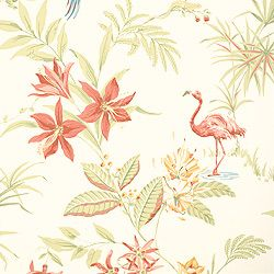 Thibaut Seaside - Flamingo Bay - Wallpaper - Cream.  Color matching for the pink bathroom