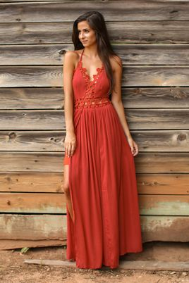 Of All Things Rust Red Halter Maxi Dress-LARGE