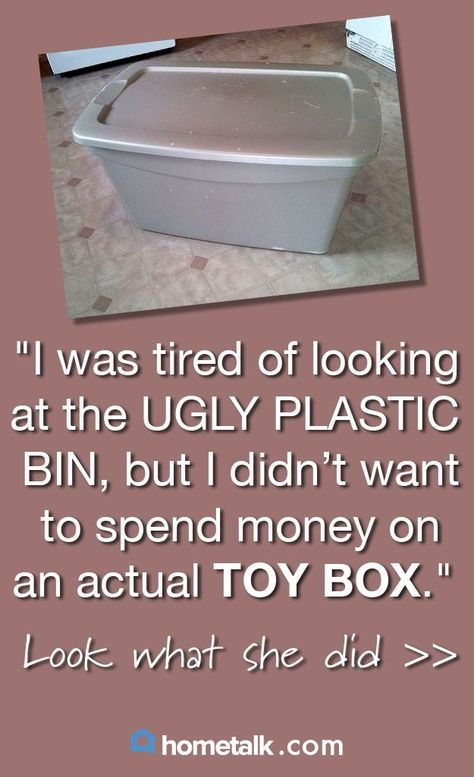 Take an ugly plastic storage bin and turn it into a functional toy box