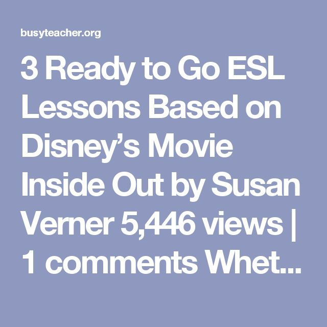 """3 Ready to Go ESL Lessons Based on Disney's Movie Inside Out by Susan Verner 5,446 views 