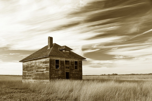 abandoned schoolhouse, South Dakota.