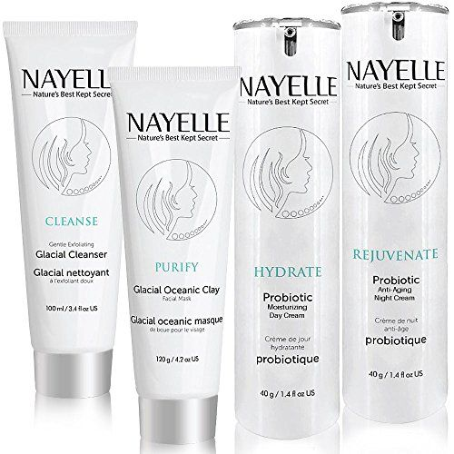 NAYELLE Anti Aging Probiotic Organic Skin Care 4 pack Facial Cleanser Day Cream Night Cream Clay Mud Face Mask Face Wash Face Moisturizer Night Cream Face Mask For Oily Dry Sensitive Skin ** You can find out more details at the link of the image.