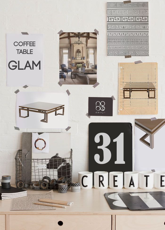 moodboard with coffee table GLAM by nobo design www.nobodesign.eu