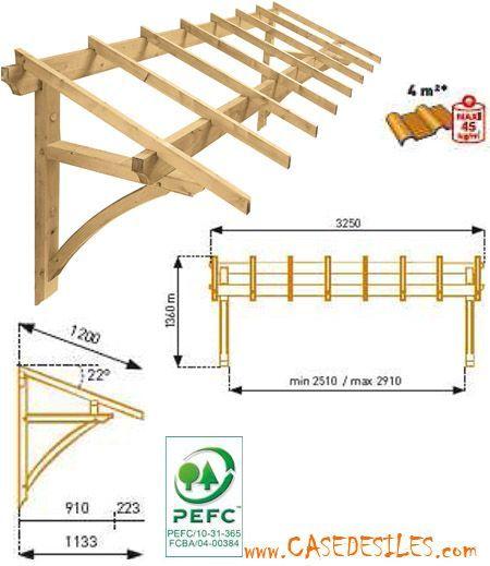 Auvent bois de garage ou de fenêtre 1 pan MAR3212 à Prix Choc