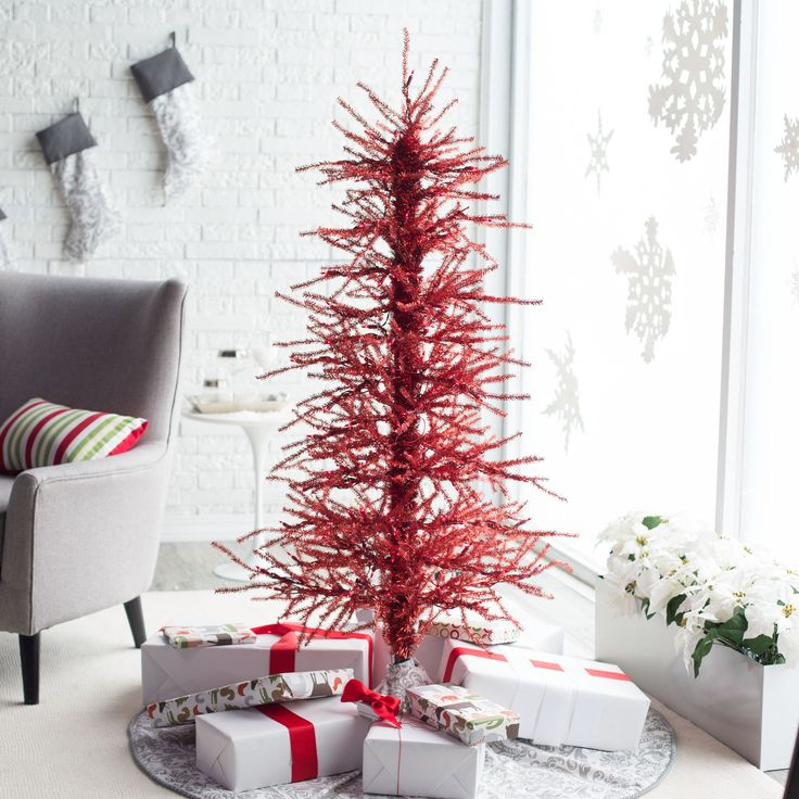 Silver Tinsel Christmas Tree With Color Wheel: 84 Best CHRISTMAS Tinsel Trees Images On Pinterest