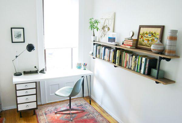 office: Pipes Bookshelf, Studios Offices Ideas, Manhattan Nests, Plywood Shelves, Books Shelves, Pipes Shelves, Diy Pipes, Diy Shelf, Pipes Shelf