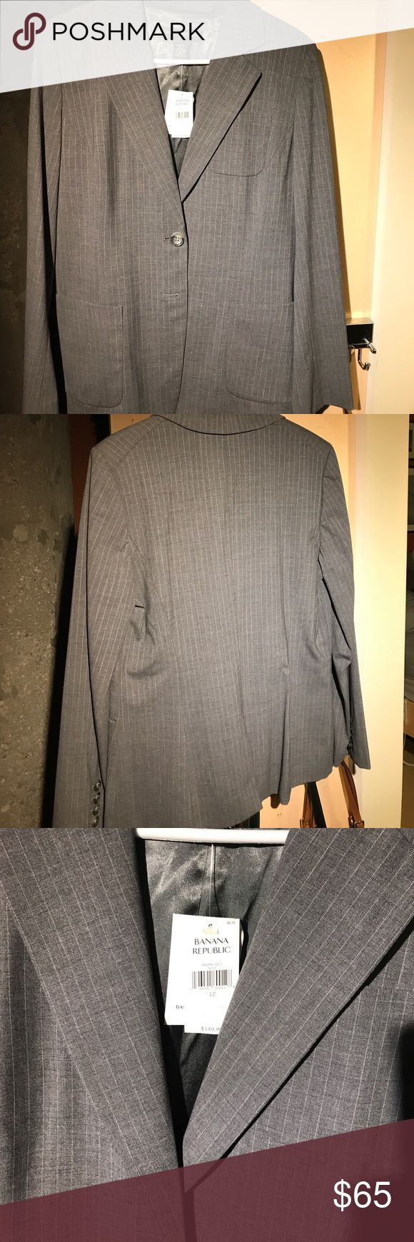 Women's Banana Republic Blazer Grey with small white pinstripe. Brand new, never been worn. Banana Republic Jackets & Coats Blazers