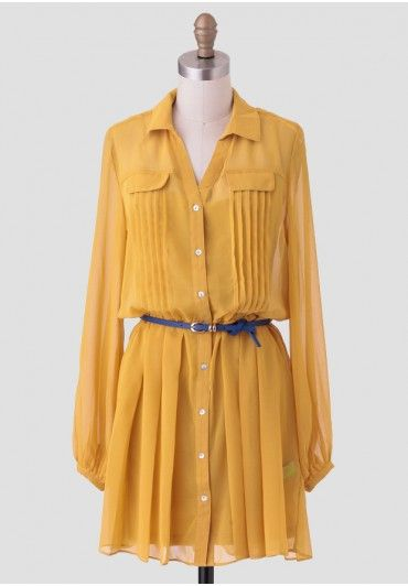 If You Must Belted Dress In Yellow