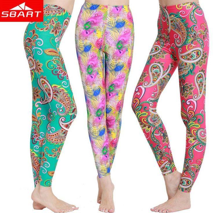 Sbart новый 2015 сыпь гвардии брюки женские красочные цветочные печатные женские леггинсы фитнес колготки спорт длинные плавать брюки лайкра J
