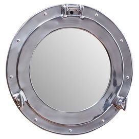 Nautical chic style silver porthole mirror from upcycled for Porthole style mirror