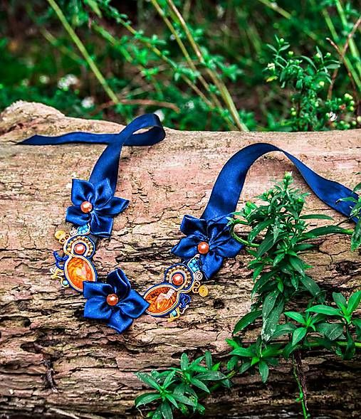 Bash-arT / Neprehliadnuteľná/ blue orange soutache necklace