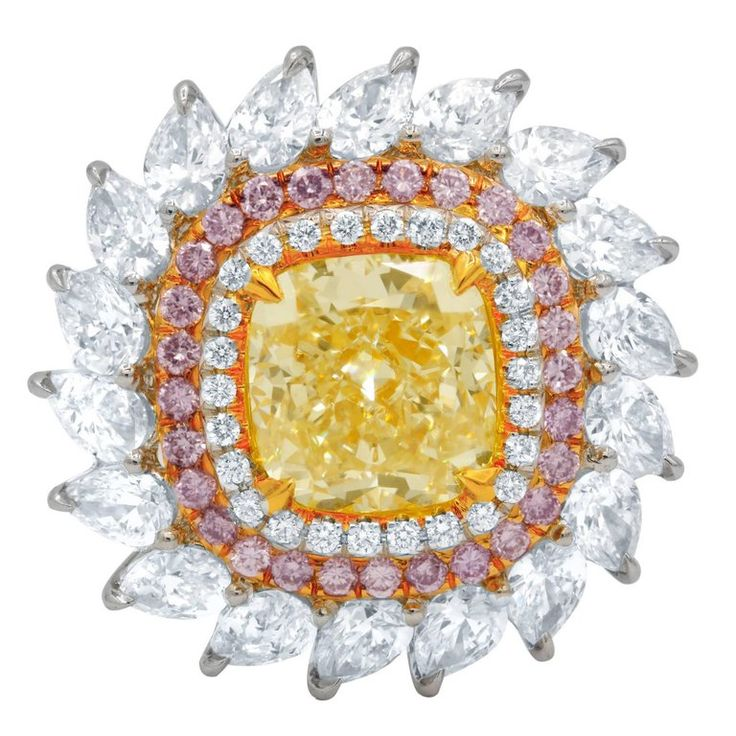 Certified 7.78 Carat Canary Yellow Diamond Engagement Ring 1