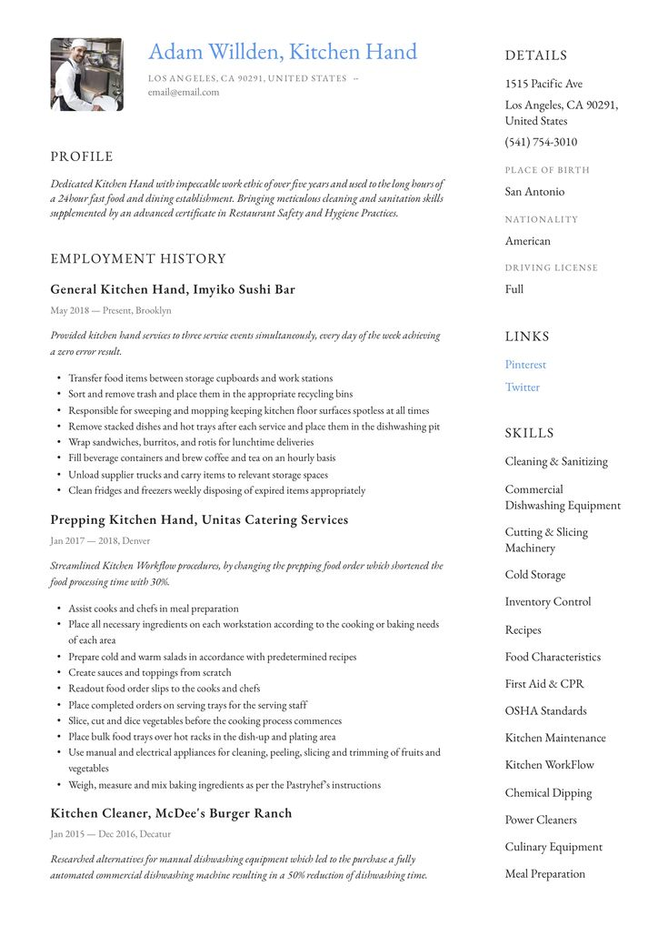 Kitchen hand resume example guided writing resume