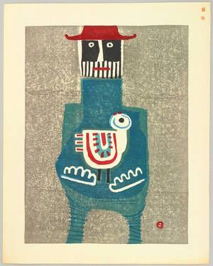 'Red Hat' (1965) by Japanese artist printmaker Azechi Umetaro (1902-1999). Color woodcut. via ukiyo-e