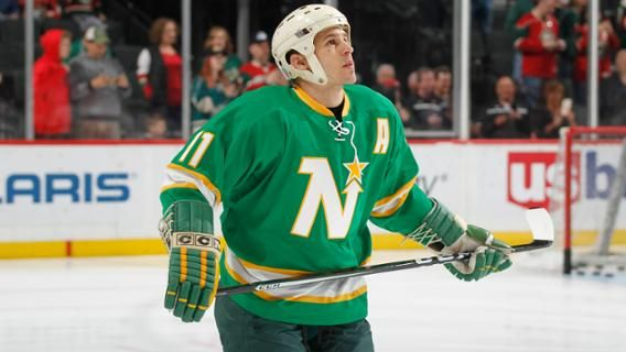 Zach Parise wears his late father's North Stars gear in a Minnesota Wild jersey throwback night.