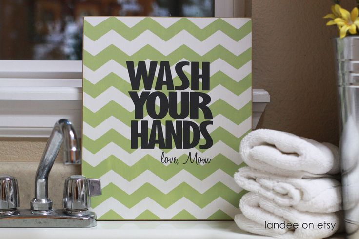 Wash Your Hands Chevron Decorative Board - just can't figure out which color i want!Hands Chevron, Chevron Decor, Bathroom Colors, Modern Bathroom Design, Kids Bathroom, Decor Bathroom, Bathroom Interiors Design, Decor Boards, Bathroom Signs
