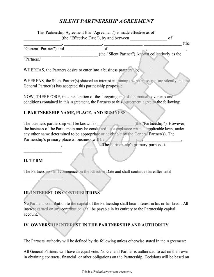 Silent Partnership Agreement Template With Sample