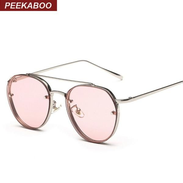 #SUNGLASSES #NEW Peekaboo Newest yellow green pink ocean sunglasses women fashion summer style steam punk metal sun glasses men uv400…