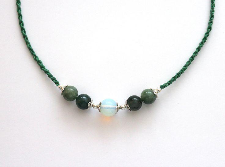 Halskette grün, Moos-Achat Halskette, geflochtene Halskette, verstellbare Größe Halskette, Makramee Halskette, Makramee Schmuck, zierliche von Stufferhelix auf Etsy