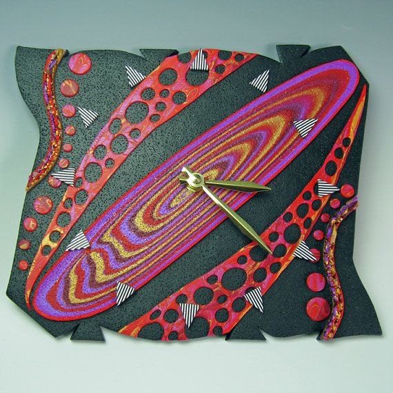 Stoked. Unique Polymer Clay Art Clock. Free Form in Red, Gold, Purple, Crazy Stripe on Black