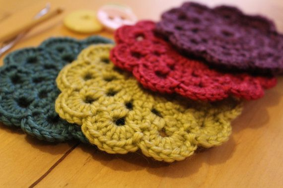 Four Crocheted Coasters by ChickFromLeeds on Etsy