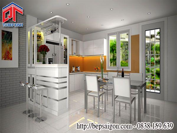 Mẫu tủ bếp hiện đại với thiết kế kết hợp quầy bar TB32