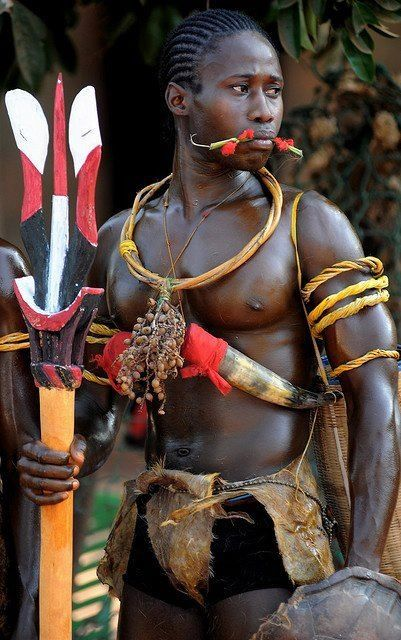 #Bijagos Warrior dressed in traditional outfit, #Guinea Bissau.