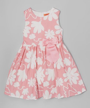 Another great find on #zulily! Pink Floral Bow Dress - Toddler & Girls #zulilyfinds