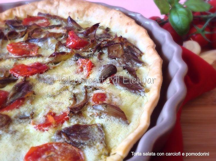 TORTA+SALATA+CON+POMODORINI+PANNA+E+CARCIOFI