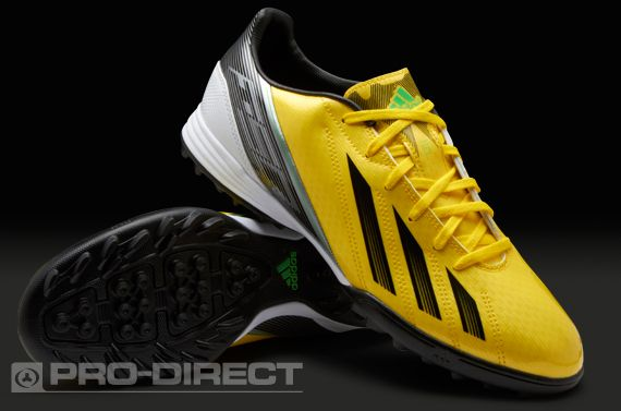 adidas F10 TRX Turf Football Trainers. The adidas F10 TRX Astro Turf Fives shoes are highly visible on the pitch, offering many of the same attributes as the adidas flagship speed boot yet at a more affordable price.