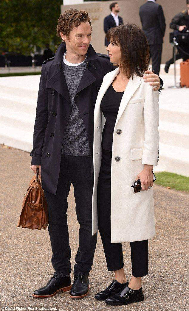 Look of love: Benedict and Sophie couldn't keep their eyes off each other as they stepped out to enjoy the designer show