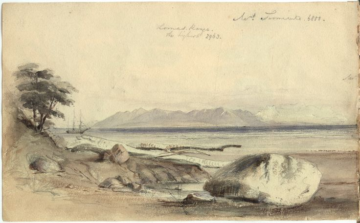 Watercolour sketch by Conrad Martens of Mount Sarmiento and HMS Beagle in the distance; perhaps early February 1834