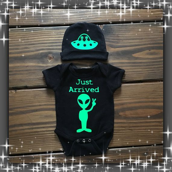 Perfect for X - File fans or extraterrestrial believers! How funny is this Roswell alien baby  Just Arrived  onesie with spaceship cap ? The