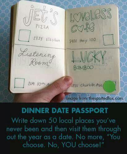 Date night passport, 50 places you've never been before. / Avondje uit paspoort, 50 plaatsen waar je nog nooit bent geweest.
