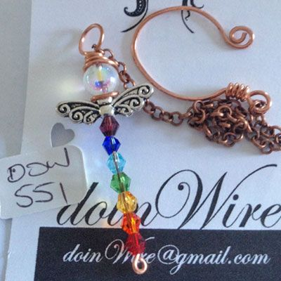 doinWire handcrafted Car Mirror Suncatcher. Copper wire angel with chakra crystals. DOW551