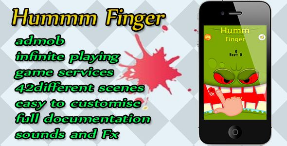 Hummm Finger . How long can you protect your fingers from the hungry monsters?!Hummm Fingers is a fun, single touch high score game oozing with charm. Touch and hold the screen as long as you can. Don't hit anything with teeth or else CHOMP, it is game over. Compete against your friends using in game leaderboards